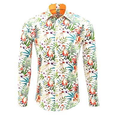 17b9ebe31ce Claudio Lugli Tropical Flamingo Print Luxury Cotton Long Sleeve Summer  Casual Mens Shirt CP6353  Claudio Lugli  Amazon.co.uk  Clothing