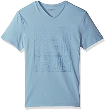 Calvin Klein Jeans Mens Short Sleeve Outline Logo V Neck T Shirt Placid