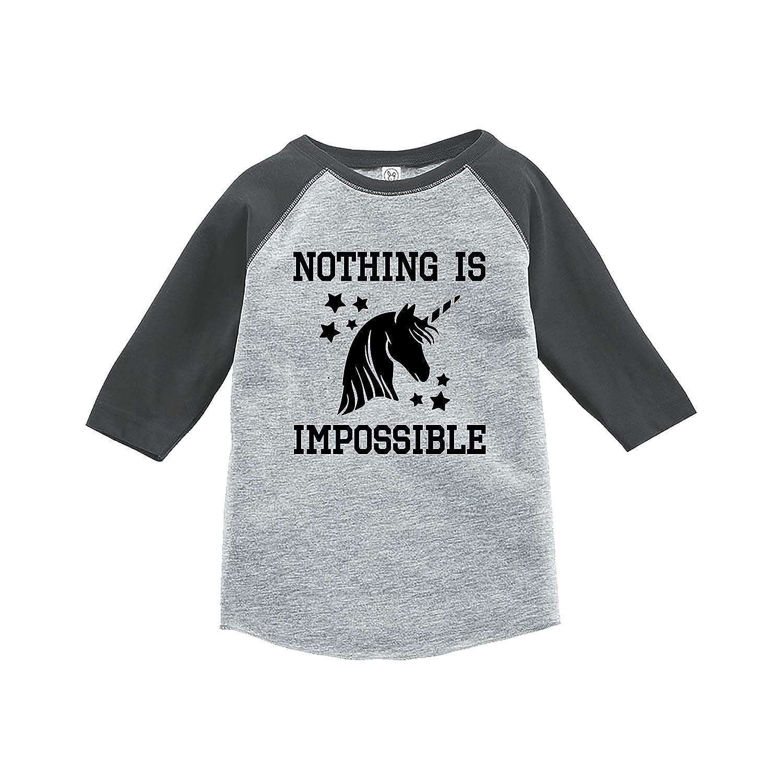 7 ate 9 Apparel Kids Nothing Is Impossible Unicorn Raglan Tee Grey
