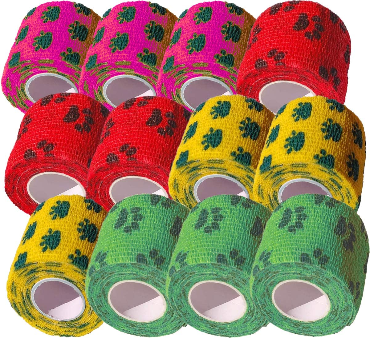 Biluer 12 Rotoli Benda Coesiva Benda Elastica Bendaggio Sportive Fasciatura 5cm x 4.5m Cohesive Bandage per Polsi Caviglie Slogature E Gonfiore Primo Soccorso 4 Colori