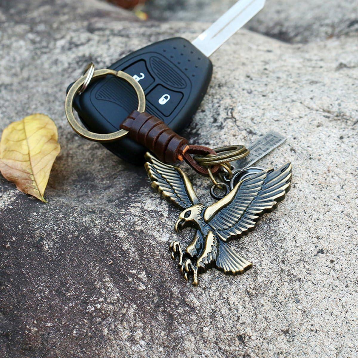 Portachiavi anello von fabl Crew USB Stick chiave allegati auto allegati portachiavi Keychain per gli uomini e le ragazze zaino ciondolo stile vintage Bronze Pelle Lega Aquila del modello 1/pezzi