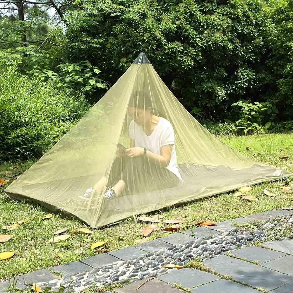 Army Green Foru-1 Outdoor Camping 50D Mesh Tent Pyramid Single Person Mosquito Net