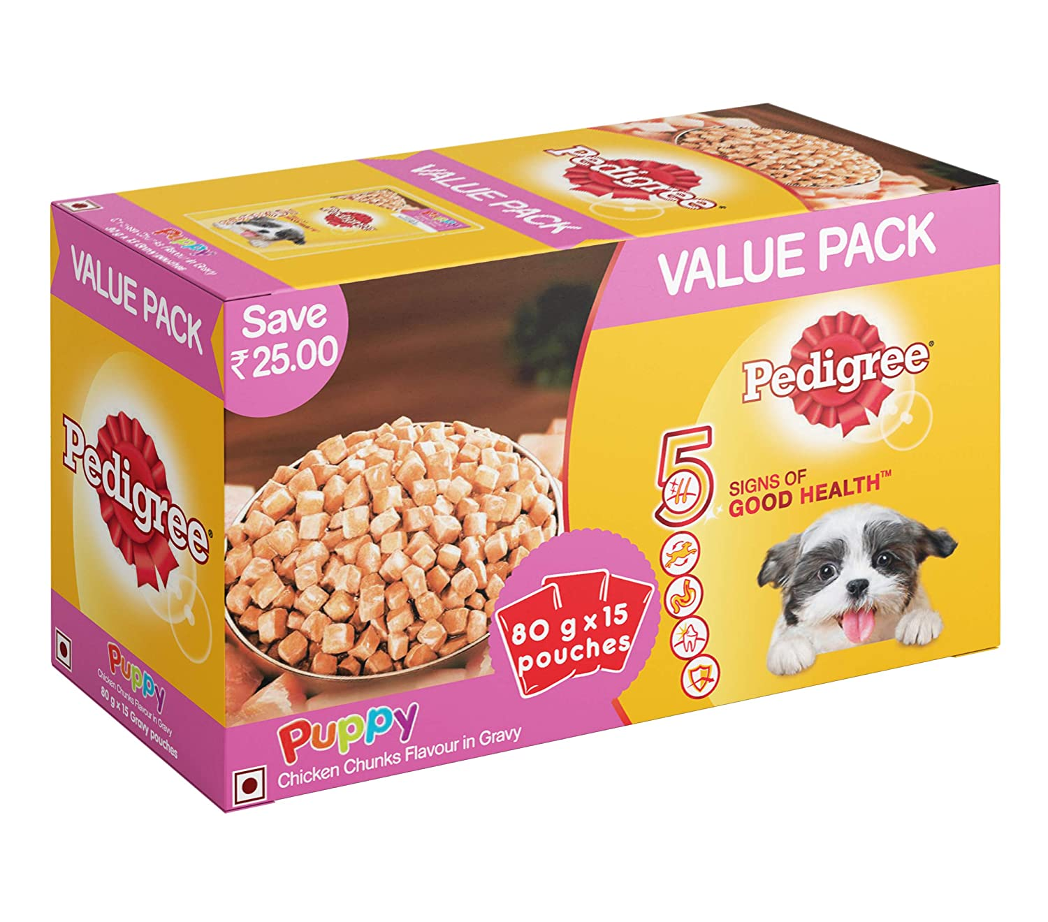 Pedigree Puppy Wet Dog Food, Chicken Chunks in Gravy, (15 Pouches x 80g)