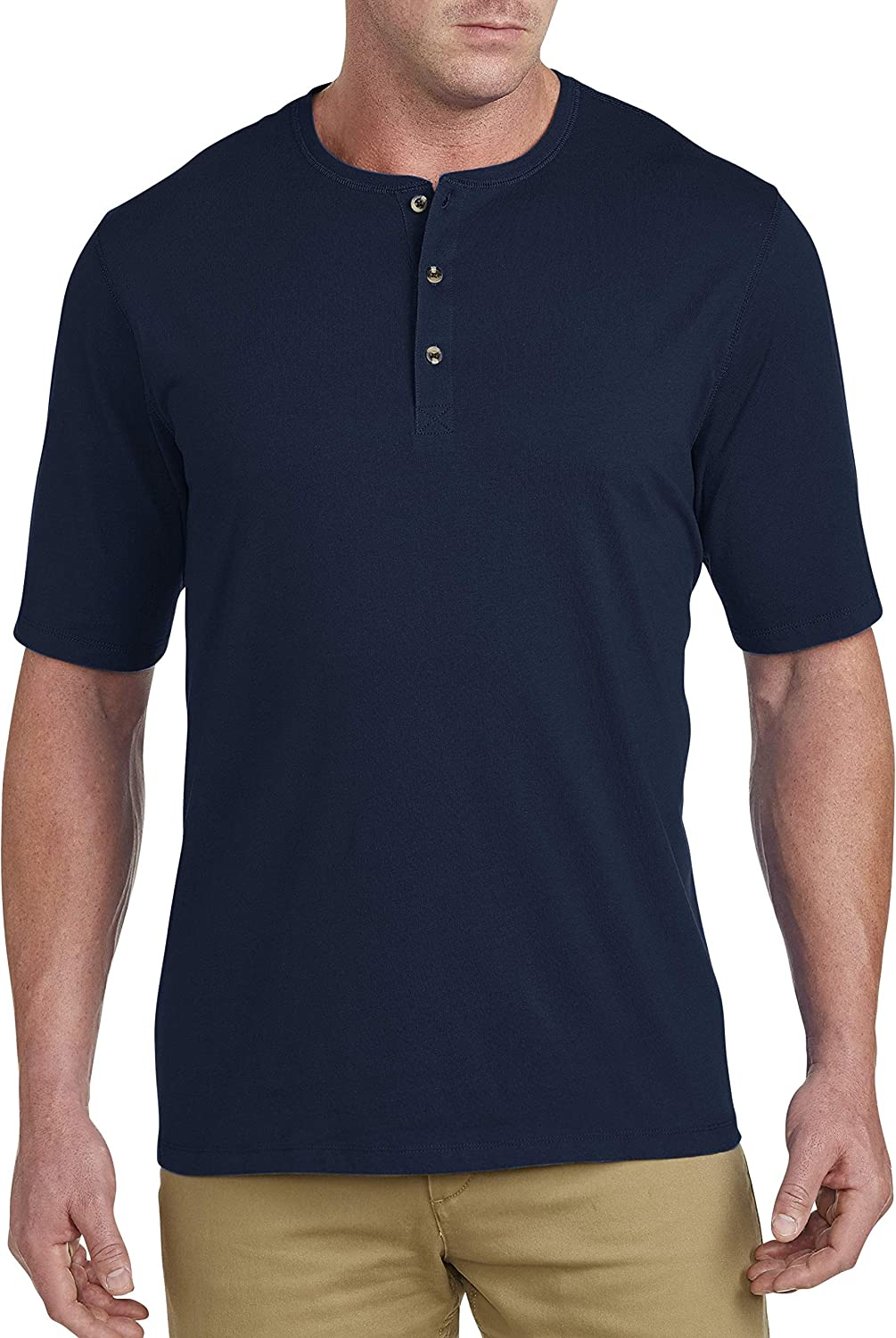 Harbor Bay by DXL Big and Tall Wicking Jersey Henley Shirt