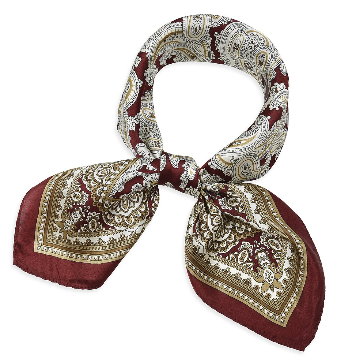 corciova 21'' Women 100% Mulberry Silk Neck Hair Wrapping Sleeping Square Scarfs Paisley Flowers Burgundy