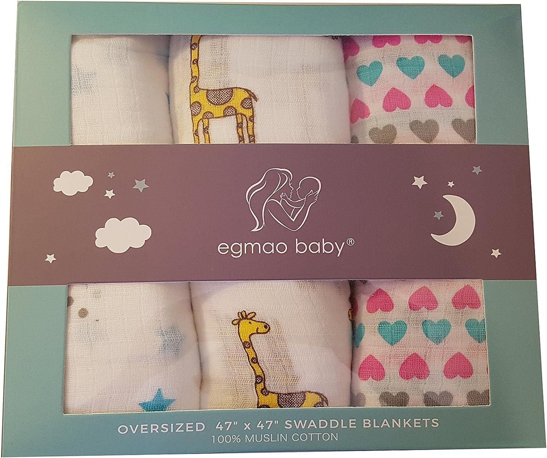 Egmao - Juego de 3 mantas de muselina para bebé | 100% muselina de ...
