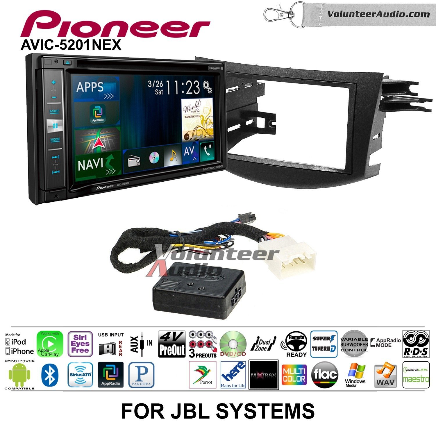 Pioneer AVIC-5201NEX Double Din Radio Install Kit with Navigation Apple Carplay Bluetooth Fits 2006-2012 Toyota RAV4 with Amplified System