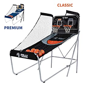 Shootout Basketball Arcade Game, Home Dual Shot with LED Lights and Scorer - 8-Option Interactive Indoor Basketball Hoop Game with Double Hoops, 7 Basketballs, Pump - For Room, Dorm, Basement