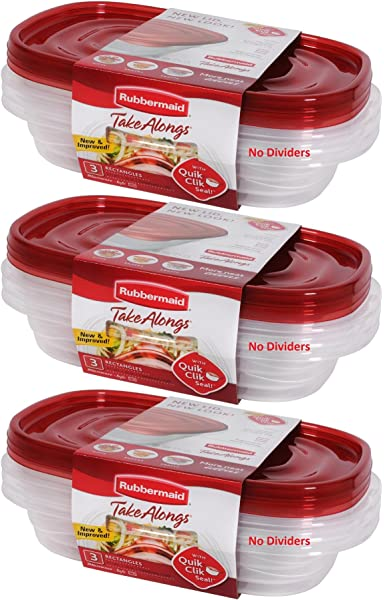 Amazon.com: Rubbermaid TakeAlongs Divided Rectangular Food ...