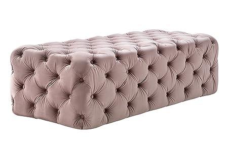 Tov Furniture Kylee Collection Velvet, Button Tufted Ottoman, Jumbo, Blush