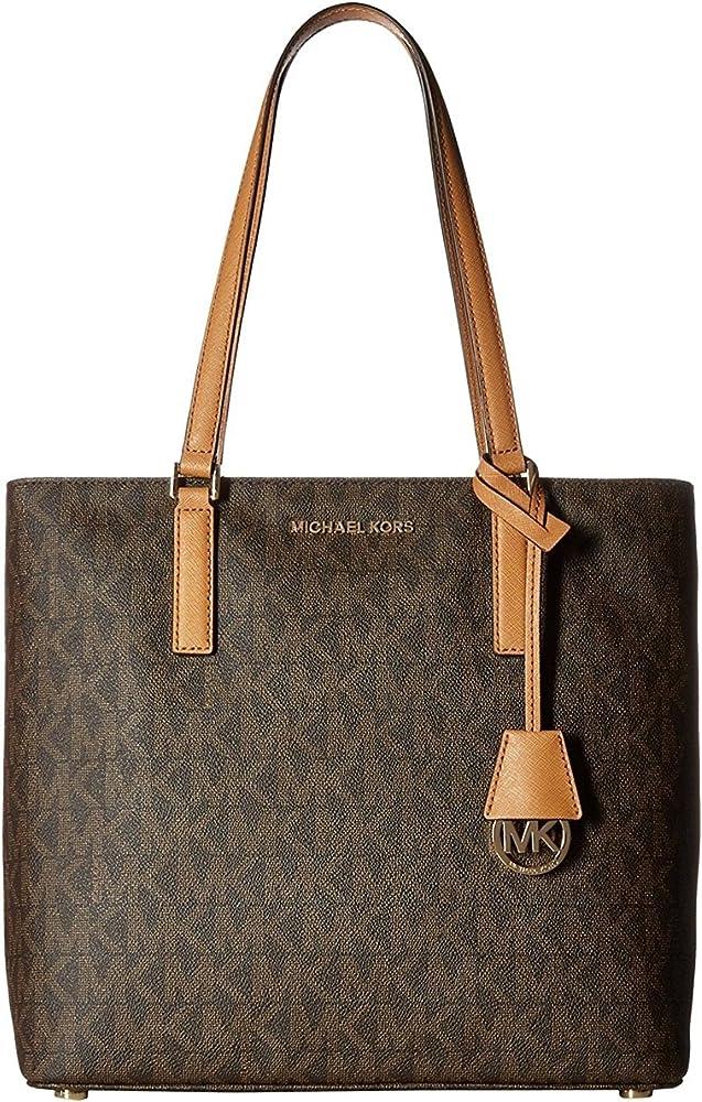 MICHAEL Michael Kors Women's Morgan Medium Tote PVC Logo Brown Handbag