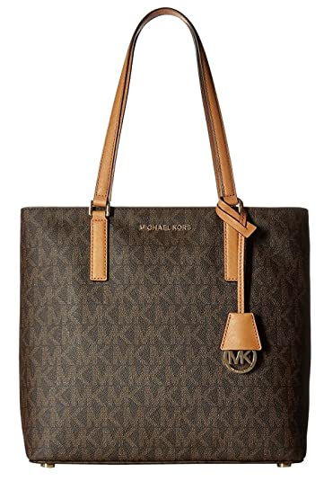 3caf141829bf Amazon.com  MICHAEL Michael Kors Women s Morgan Medium Tote PVC Logo Brown  Handbag  Shoes