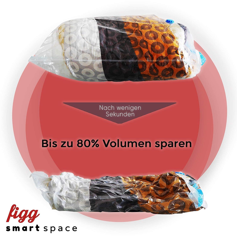adatta per vestiti e molto altro. 100/% impermeabile e ultra resistente Borsa da trasporto per Viaggio e Casa Figg Smart Space Jumbo Set di 6 sacchi portaoggetti sottovuoto XXL 100 x 80 cm
