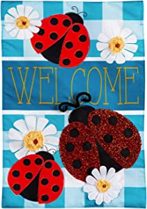 Evergreen Flag Ladybug Plaid Welcome Garden Linen Flag 12.5 x 18 Inch Double Sided Durable Outdoor Flag for Homes and Gardens
