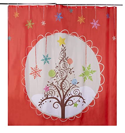 Christmas Shower Curtains Amazon.Christmas Shower Curtain With Hooks Mildew Resistant Holiday Themed Shower Curtain Large Decorative Bathroom Accessory Polyester Fabric Christmas