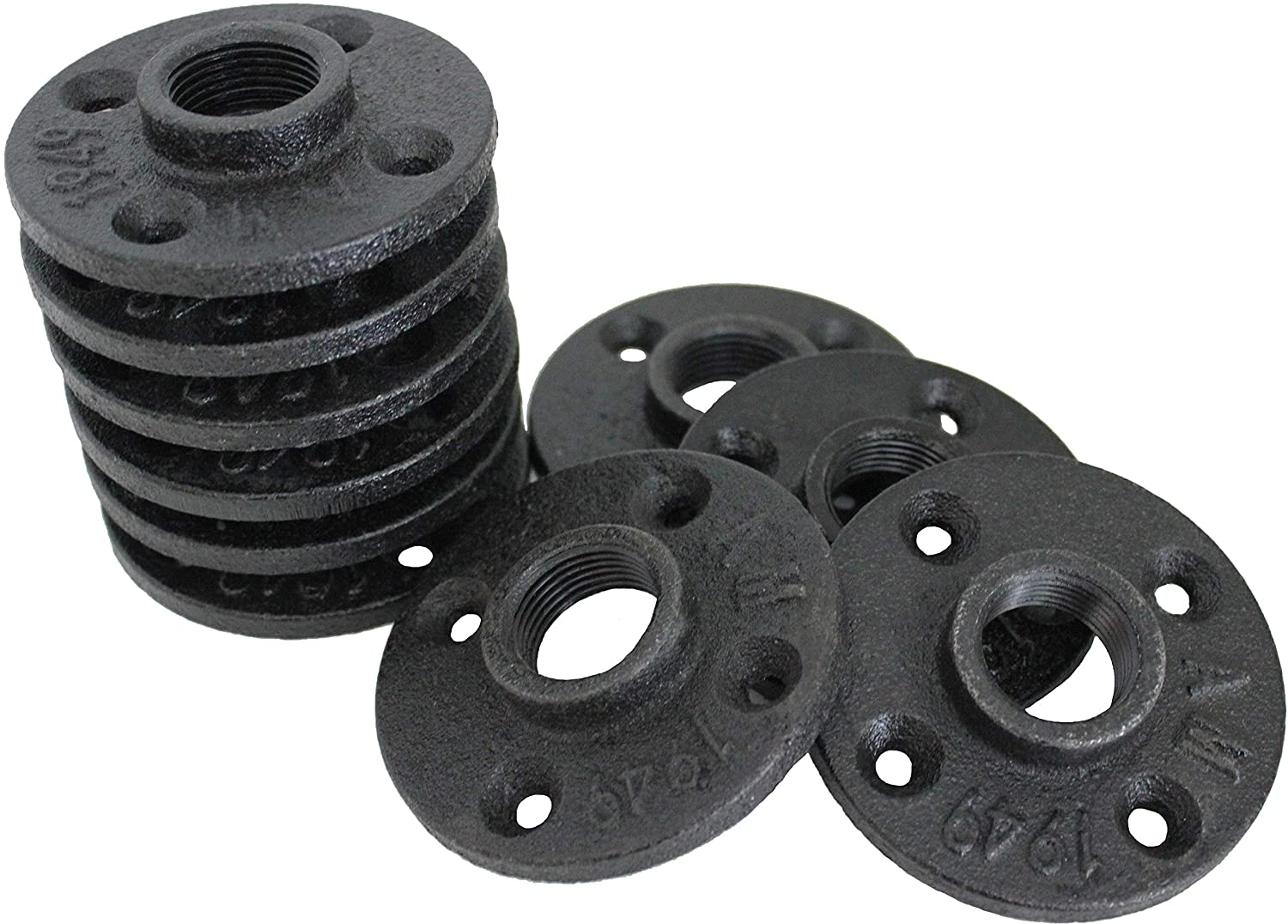 3//4 Malleable Black Iron Floor Flange Threaded Bearing Pipe Fittings for Industrial Furniture//DIY Decor 3//4 inch by NODNAL Co. 10 Pack Flanges
