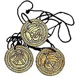 German Trendseller® - 12 x collier pirate ┃ Party ┃crâne et os croisés┃des pièces de monnaie de pirate