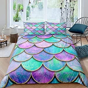 Mermaid Fish Scales Duvet Cover Twin Pink Purple Teal Comforter Cover for Girls Teens Luxury Watercolor Soft Microfiber Kids Room Decor Bedding Set with 2 Pillow Shams, Zipper, Geometric,Blue Golden