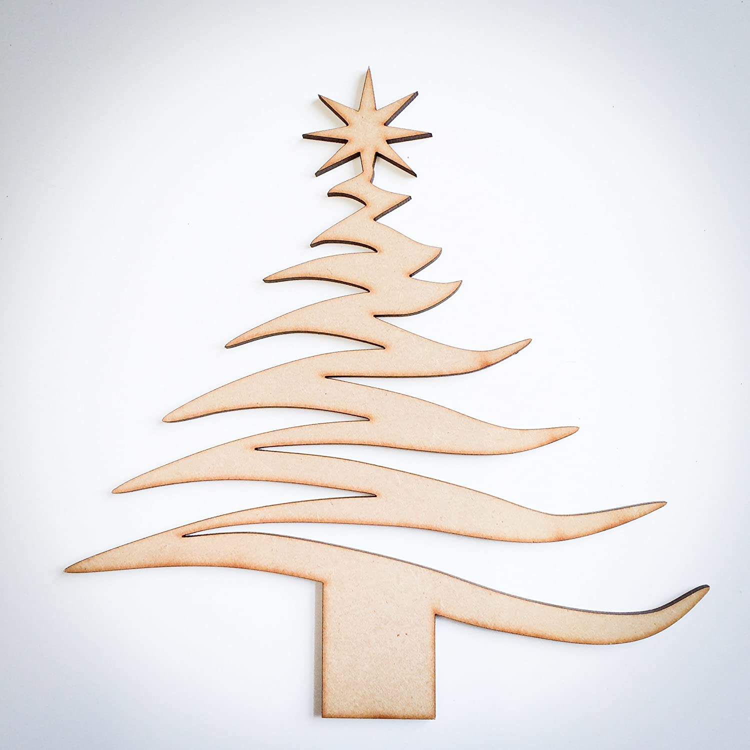 Wood christmas tree cutout - Wooden Christmas Tree Shape Craft Blank Tree Cut Out Amazon Co Uk Kitchen Home