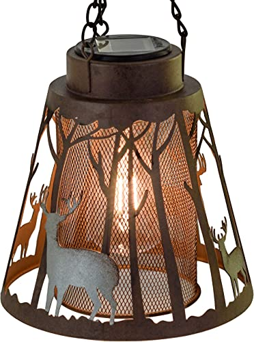 Deer LED Lantern Lights Decorative – Metal Round Holder Hanging Lantern for Indoor Outdoor by Pine Ridge 3AAA Battery Operated Flameless Halloween and Christmas