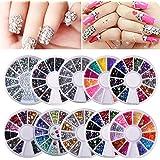 Biutee?10 Wheels nail art decor accessories Nail Rhinestones Premium Manicure Nail Art Decorations Total of 15000 Gems Nail Tools