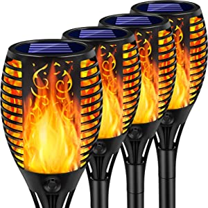 Arrinew Upgraded Outdoor Solar Torch Lights, 33 LED Solar Light Torches with Dancing Flickering Flame, Waterproof Landscape Decoration Lights for Garden Pathway Yard Patio Driveway (4 Pack)
