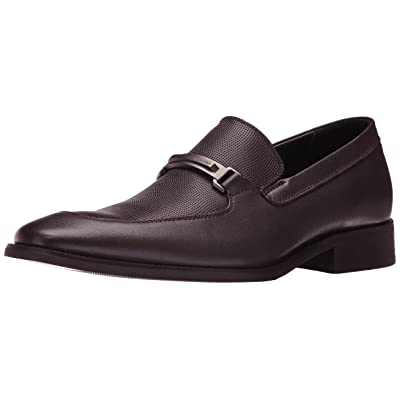 Calvin Klein Men's Rufus Slip-on Loafer, Dark Brown Grid Emboss Leather, 9 M US | Loafers & Slip-Ons