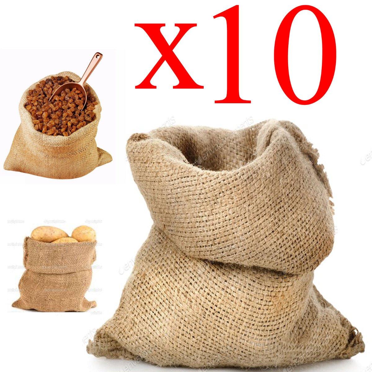 Sacco Juta 40x70 neutro naturale caffè cereali tela yuta regali 10 pezzi STI