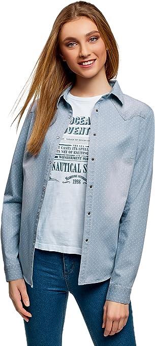 oodji Ultra Mujer Camisa Vaquera con Botones a Presión