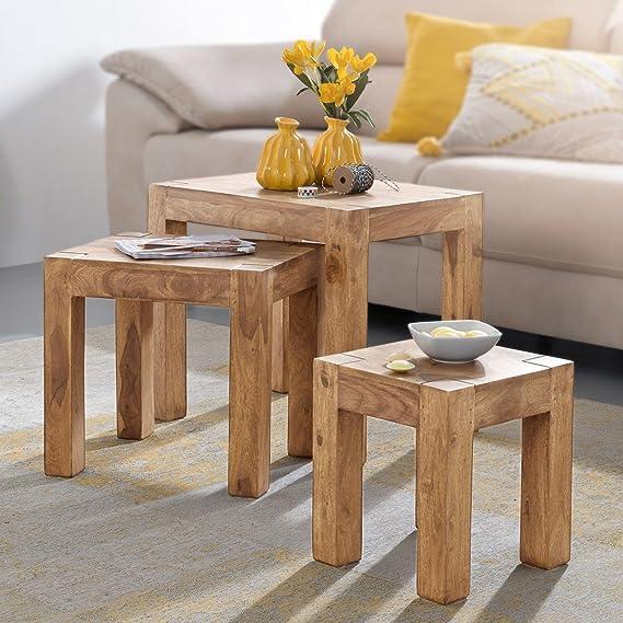 FineBuy 3er Set Satztisch aus Massiv-Holz