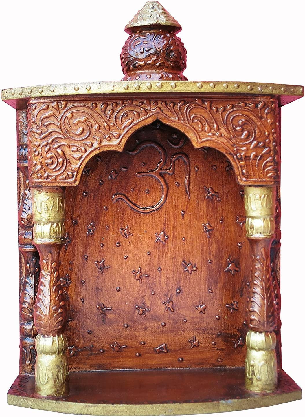 A Temple Made By Wood with Emboss Work and Om Symbol, Must for Every Indian Home Temple/Mandir
