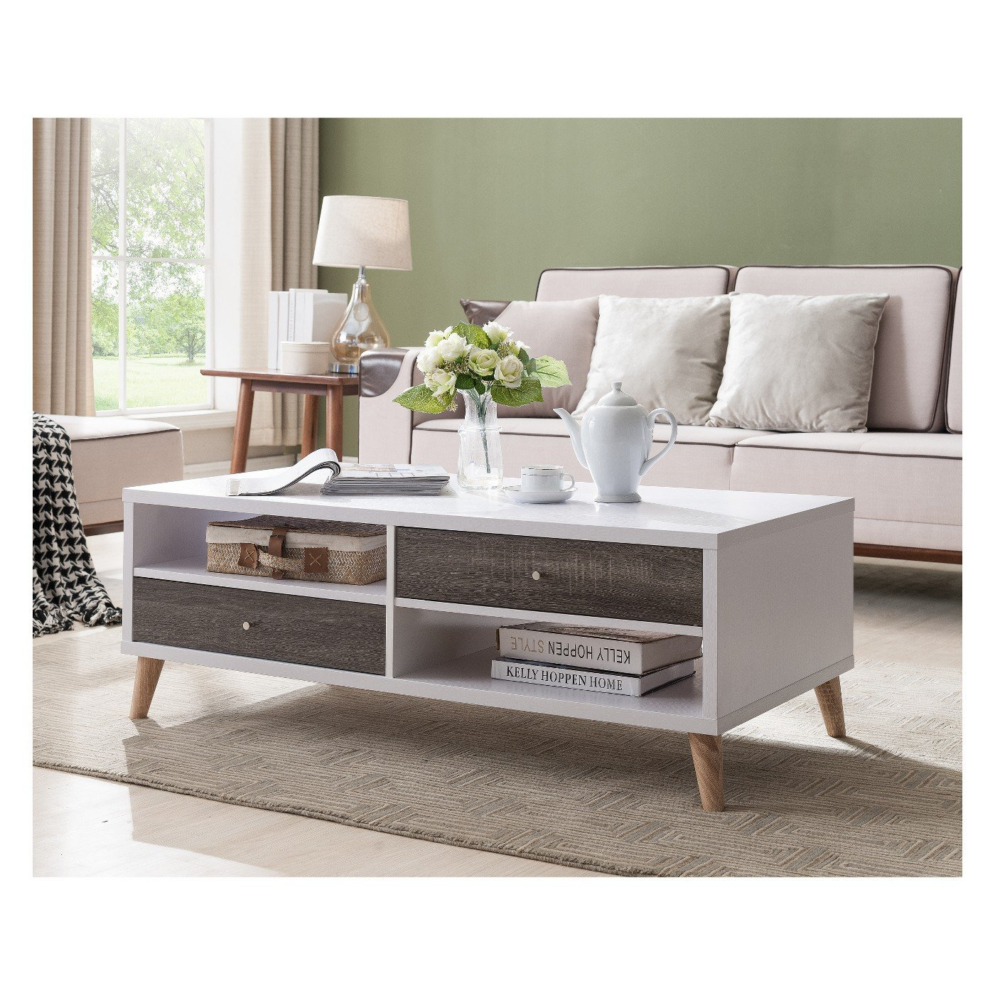 Surprising Amazon Com Weller Transitional Two Drawers Coffee Table Machost Co Dining Chair Design Ideas Machostcouk