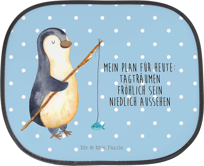 /& Mrs Auto Sonnenschutz Pinguin Angeler mit Spruch Panda Kinder Auto Mr Farbe T/ürkis Pastell