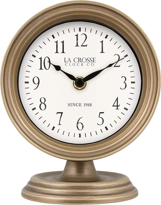 La Crosse 404-3229A 7-Inch Mabel Metal Table Top Quartz Clock, Bronze