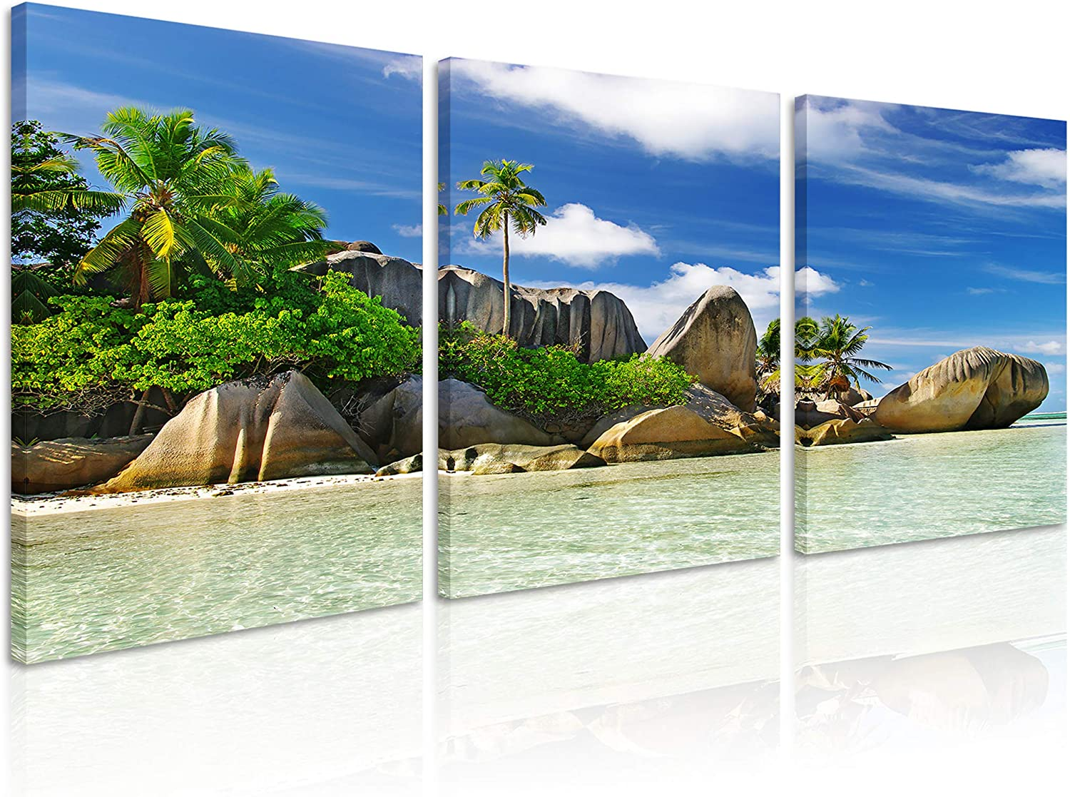 Natural Art Tropical Island Landscape Coco Trees And Huge Rocks Pictures For Living Room Wall Decor Beach Canvas Painting Wall Art Framed 12x16 Inch 3 Panels Posters Prints