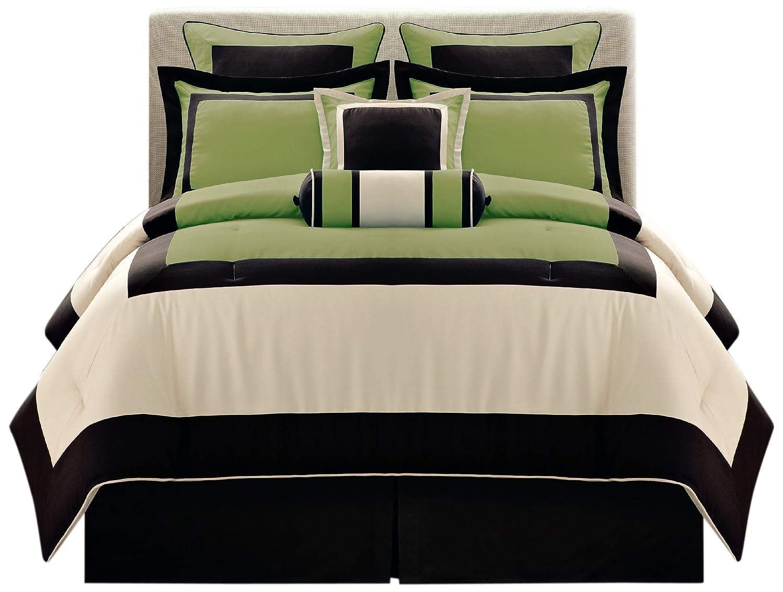 Amazon.com: Fashion Street Black Gramercy 8 Piece Comforter Set, Queen:  Home U0026 Kitchen
