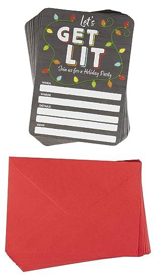 Amazon Com Tarjetas De Invitación De Navidad Pack De 50