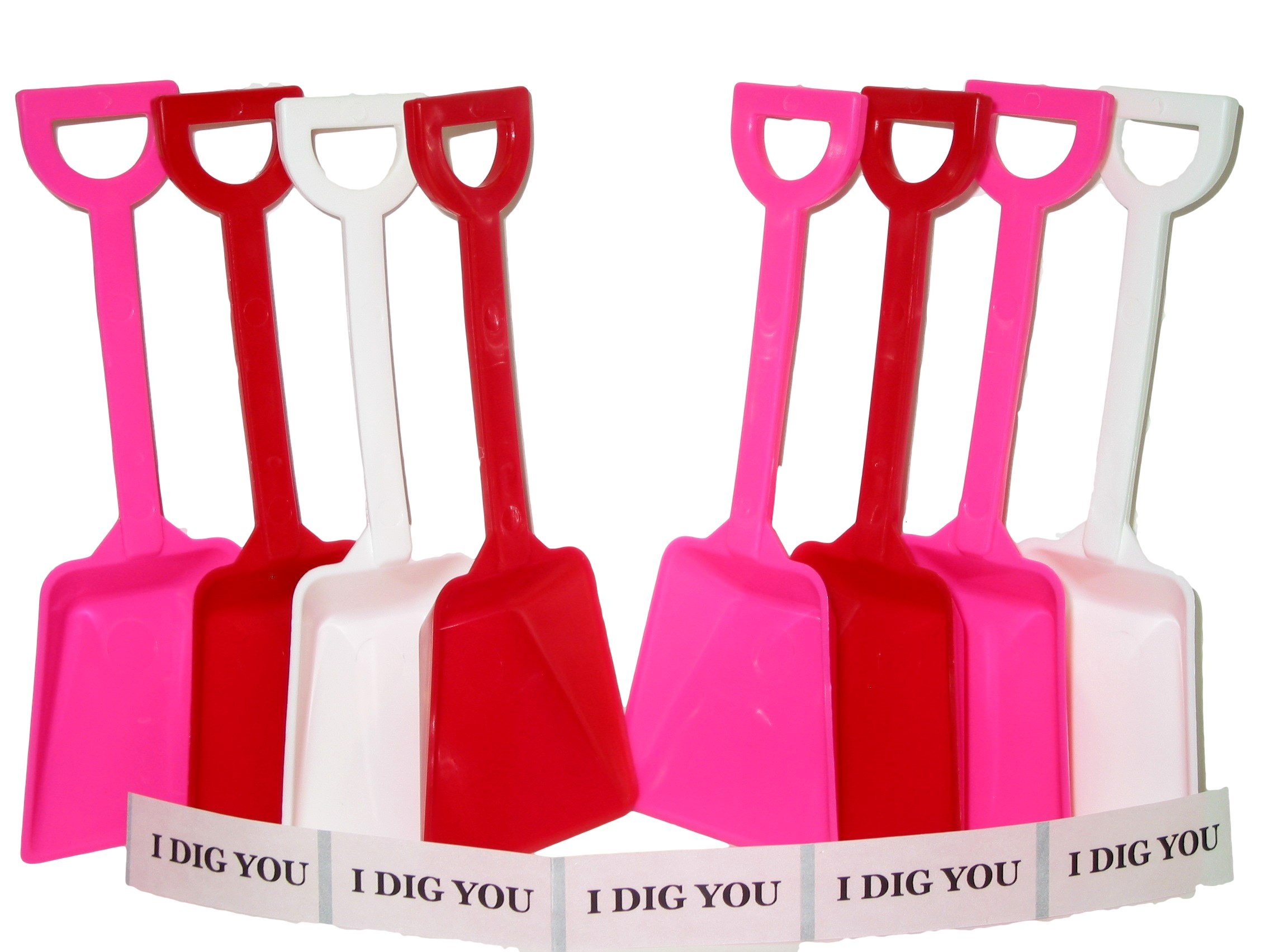 Small Toy Plastic Shovels Red Pink & White, 50 Pack, 7 Inches Tall, 50 I Dig You Stickers by Jean's Plastics