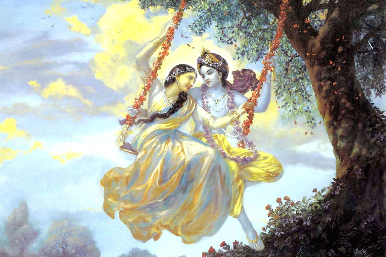 PRINTELLIGENT Radha Krishna Swing on jhulla Wall Poster Wall ...