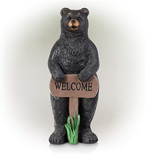 Alpine Corporation ZEN732 Alpine Welcome Sign Bear Garden Statue