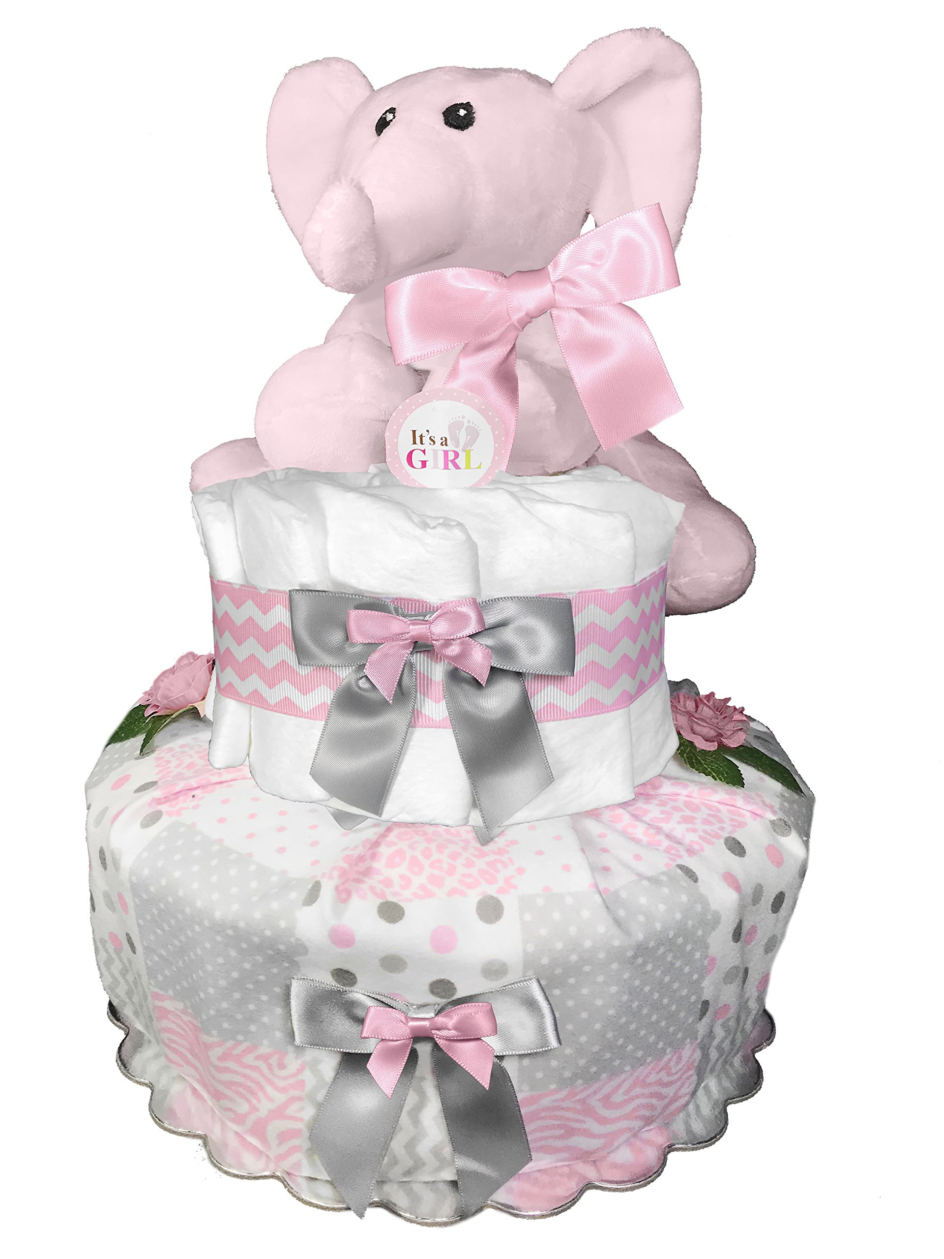Elephant Diaper Cake for a Girl - Newborn Gift Set - Baby Shower Centerpiece - Chevron Pink and Gray