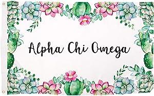 Alpha Chi Omega Succulent Flower Sorority Flag Banner 3 feet x 5 feet Sign Decor (Flag - Succulent)