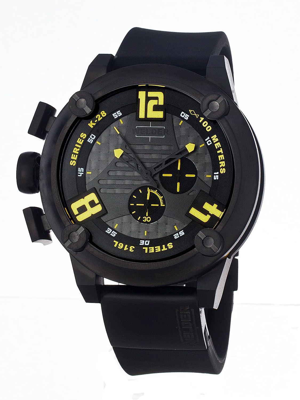 Welder Men s 7104 K28 Chronograph Black Ion-Plated Stainless Steel Round Watch