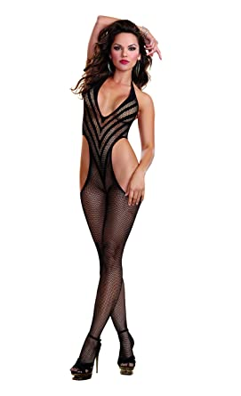 631362fc9f1 Dreamgirl Women s Fishnet Halter Bodystocking with Opaque V Style Lines and  Side Cut-Outs