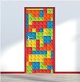 des briques Lego multicolores Porte Wrap Impression Art mural autocollant Autocollant P1b, multicolore, 80cm x 200cm