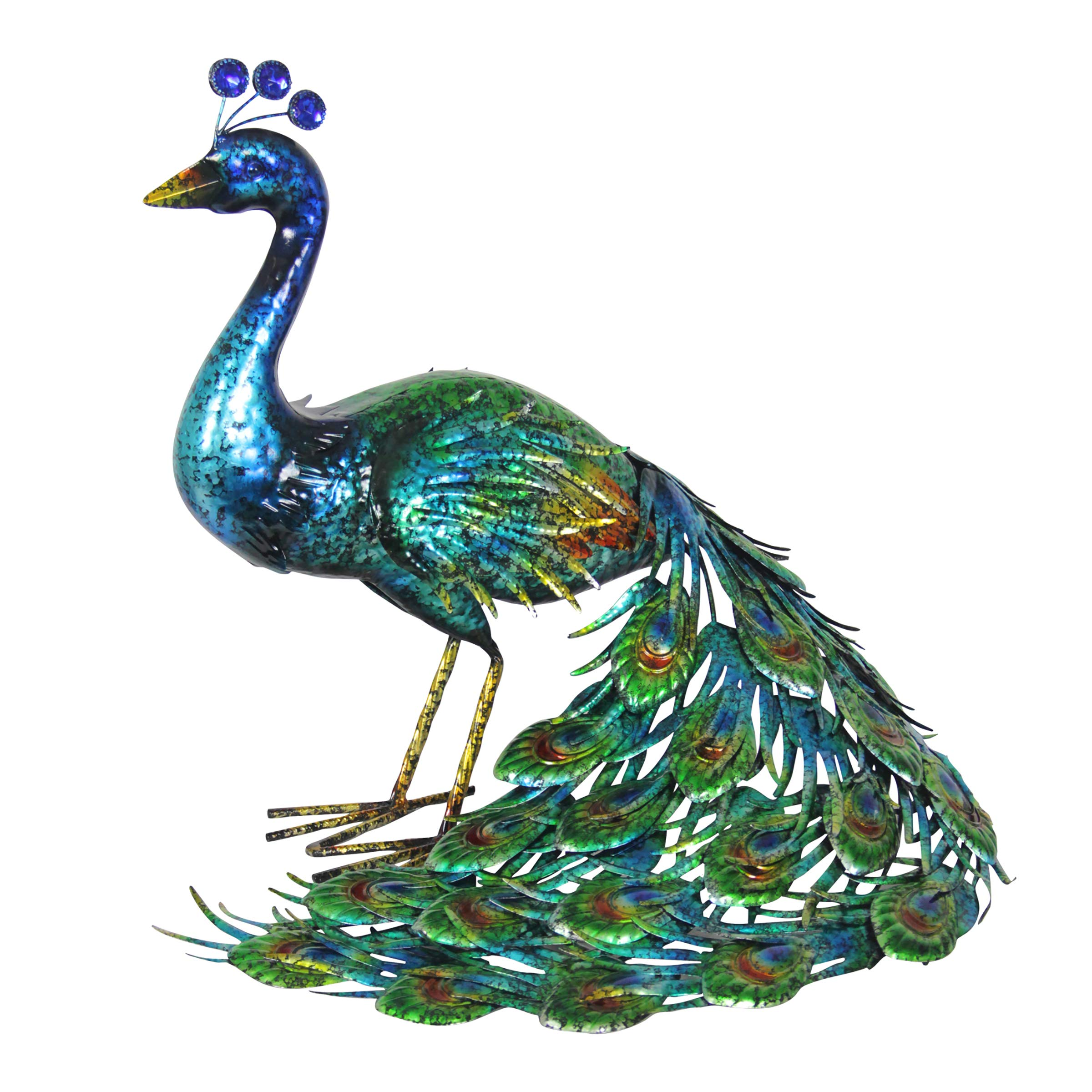 Exhart Peacock Garden Statue, Hand-Painted Metallic Blue Standing Peacock Art- Large 2ft Indoor/Outdoor Peacock Color Décor with UV-Treated Metal Artwork- Metal Peacock Décor, 15 x 24 Inches