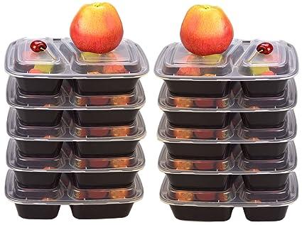 Recipientes para comida preparada, con 2 compartimentos, sin bisfenol A, 10 unidades Reutilizables