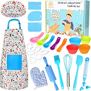 KALUDYA Kids Cooking and Baking Set - 37 Pcs Kids Chef Role Play Includes Kids Chef Hat and Apron, Oven Mitt,Cookie Cutters,Junior Cooking Set Kids Gift for 3-8 Year Old Girls,Toddlers