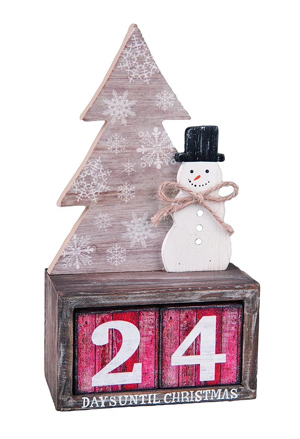 One Holiday Lane Rustic Wood Snowman and Tree Advent Countdown Calendar - Tabletop Christmas Countdown with Number Blocks Decoration