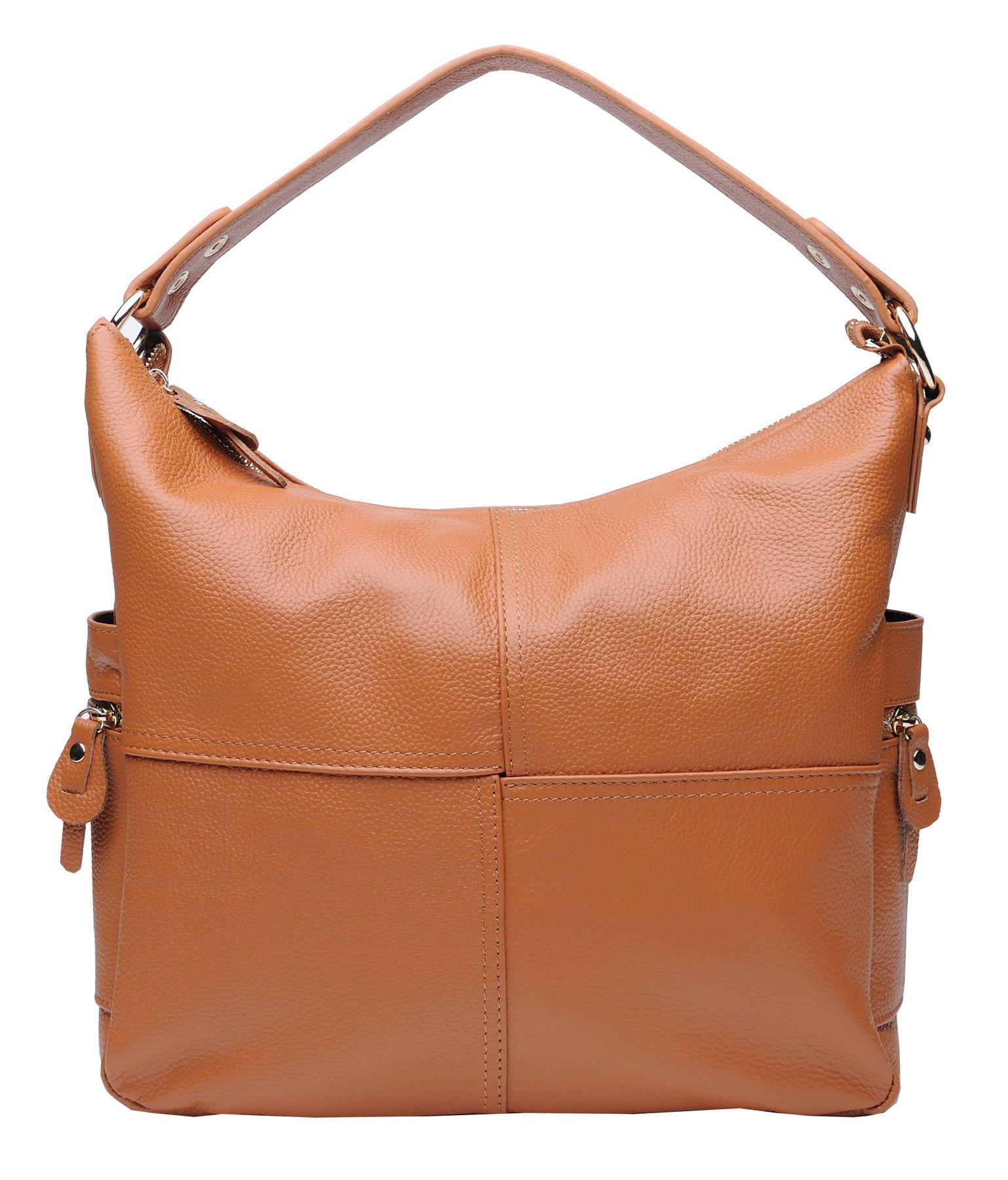 Heshe Soft Leather Women's Handbags Large Capacity Shoulder Bags Hobo Tote Top Handle Cross Body Bag Satchel Purses for Ladies (Brown)